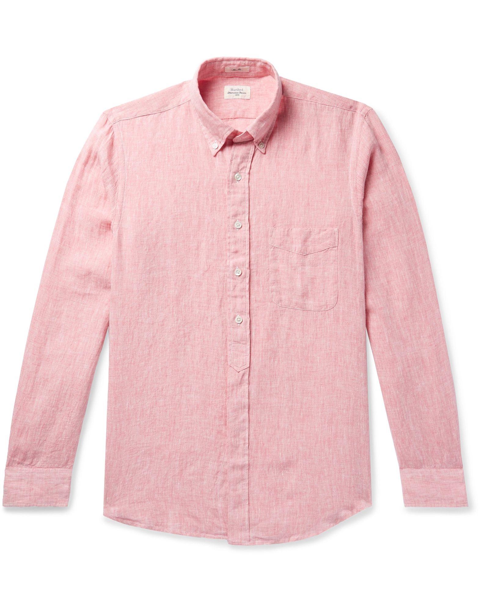 《セール開催中》HARTFORD メンズ シャツ ピンク XL リネン 100%