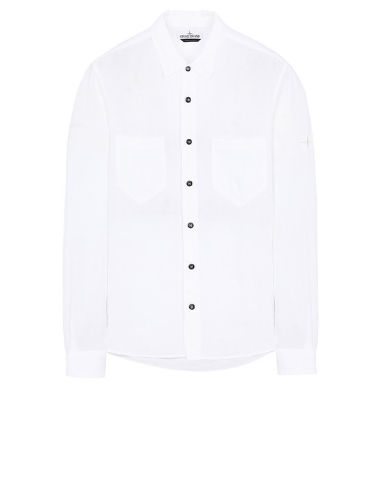 "STONE ISLAND 11201""FISSATO""DYE TREATMENT Long sleeve shirt Man White"