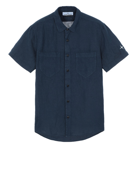 "STONE ISLAND 12601""FISSATO""DYE TREATMENT Short sleeve shirt Man Marine Blue"