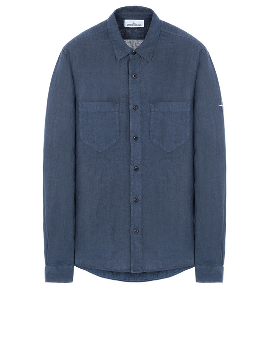 "STONE ISLAND 11201""FISSATO""DYE TREATMENT Long sleeve shirt Man Marine Blue"