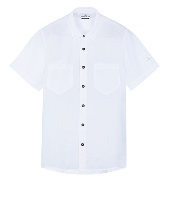"STONE ISLAND 12601""FISSATO""DYE TREATMENT Short sleeve shirt Man White"