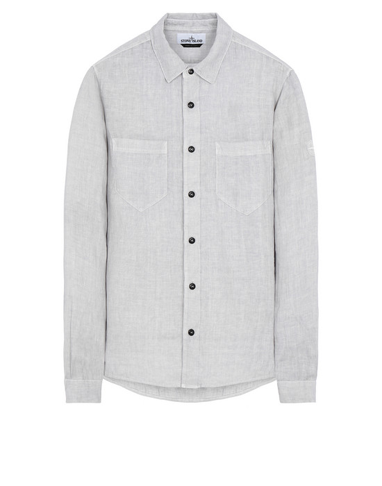 "STONE ISLAND 11201""FISSATO""DYE TREATMENT Long sleeve shirt Man Dust Gray"