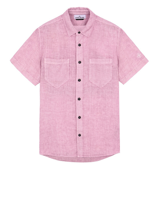 "STONE ISLAND 12601""FISSATO""DYE TREATMENT Short sleeve shirt Man Pink Quartz"