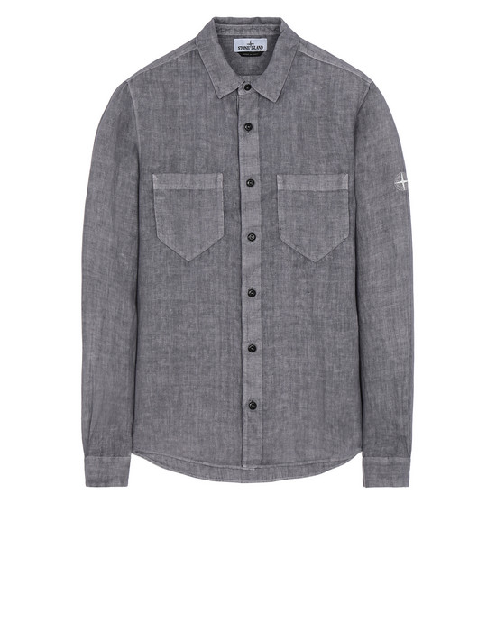 "STONE ISLAND 11201""FISSATO""DYE TREATMENT Long sleeve shirt Man Blue Grey"