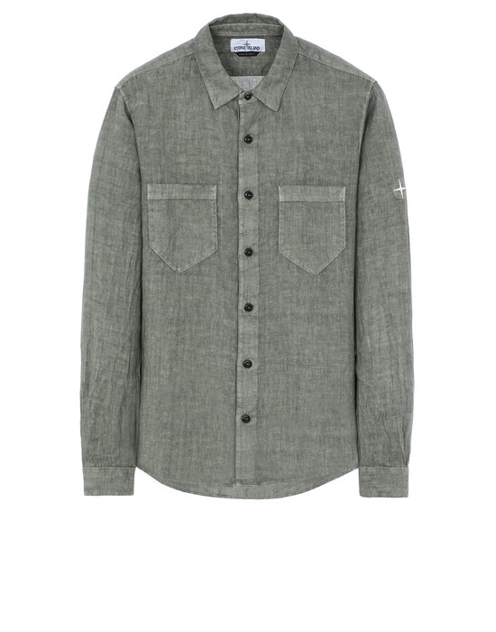 "STONE ISLAND 11201""FISSATO""DYE TREATMENT Long sleeve shirt Man Olive Green"