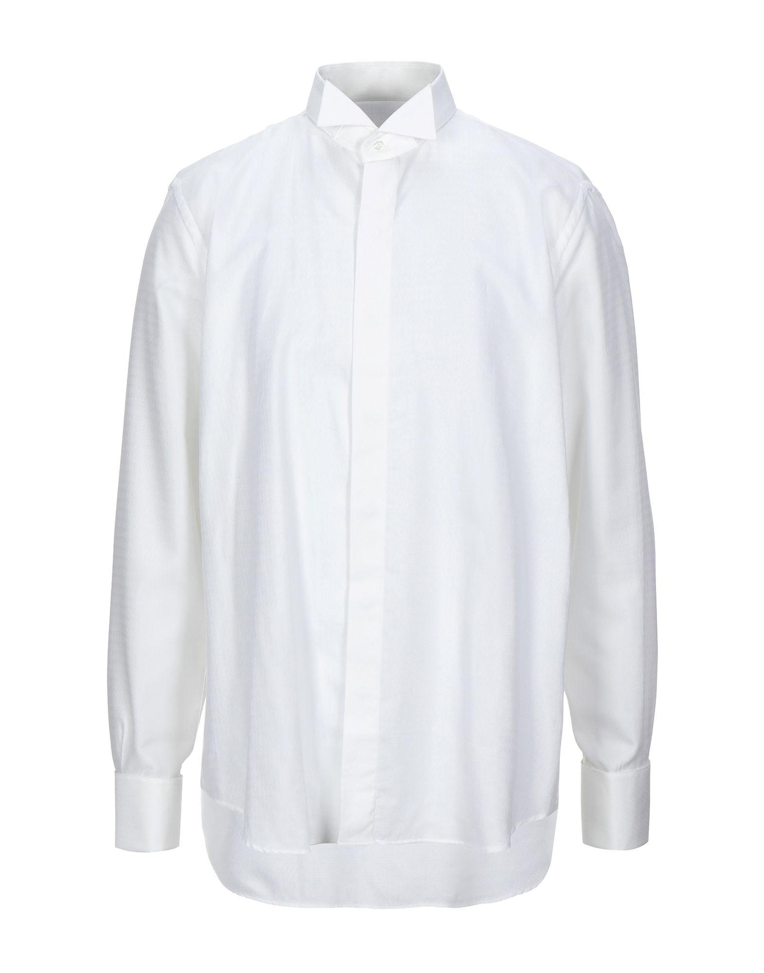 《セール開催中》ROCCOBAROCCO メンズ シャツ ホワイト 44 コットン 50% / レーヨン 50%