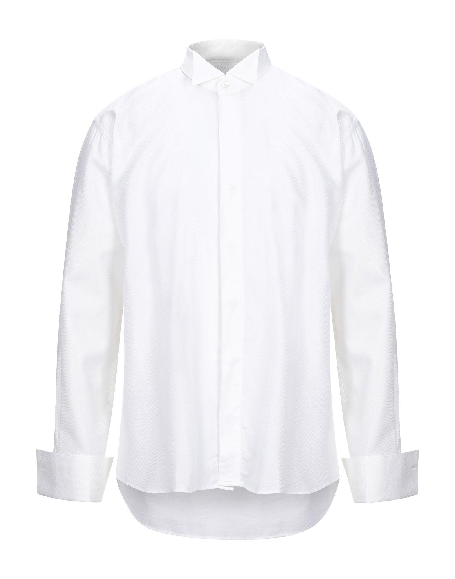 《セール開催中》ROCCOBAROCCO メンズ シャツ ホワイト 40 コットン 50% / レーヨン 50%