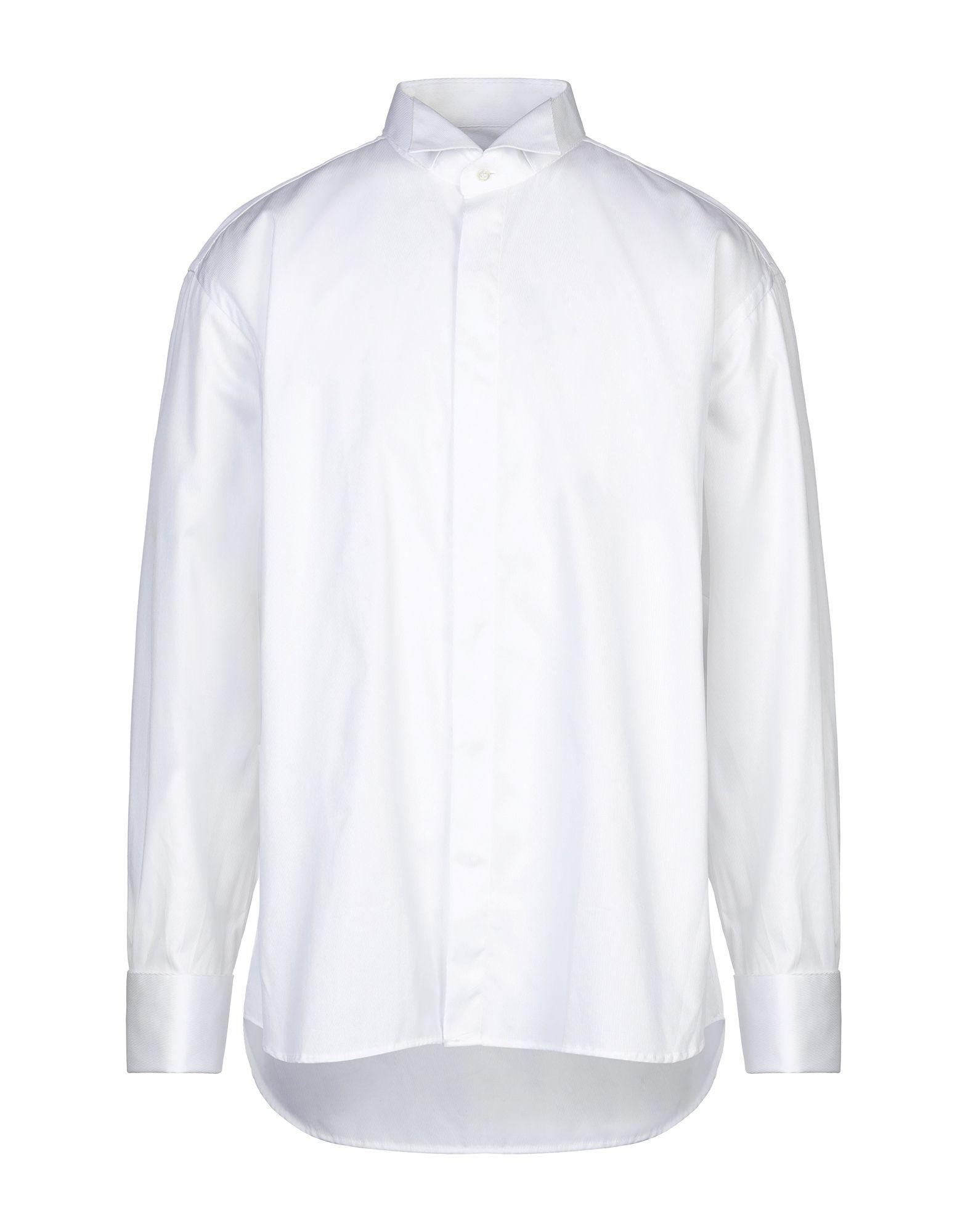 《セール開催中》ROCCOBAROCCO メンズ シャツ ホワイト 45 コットン 100%