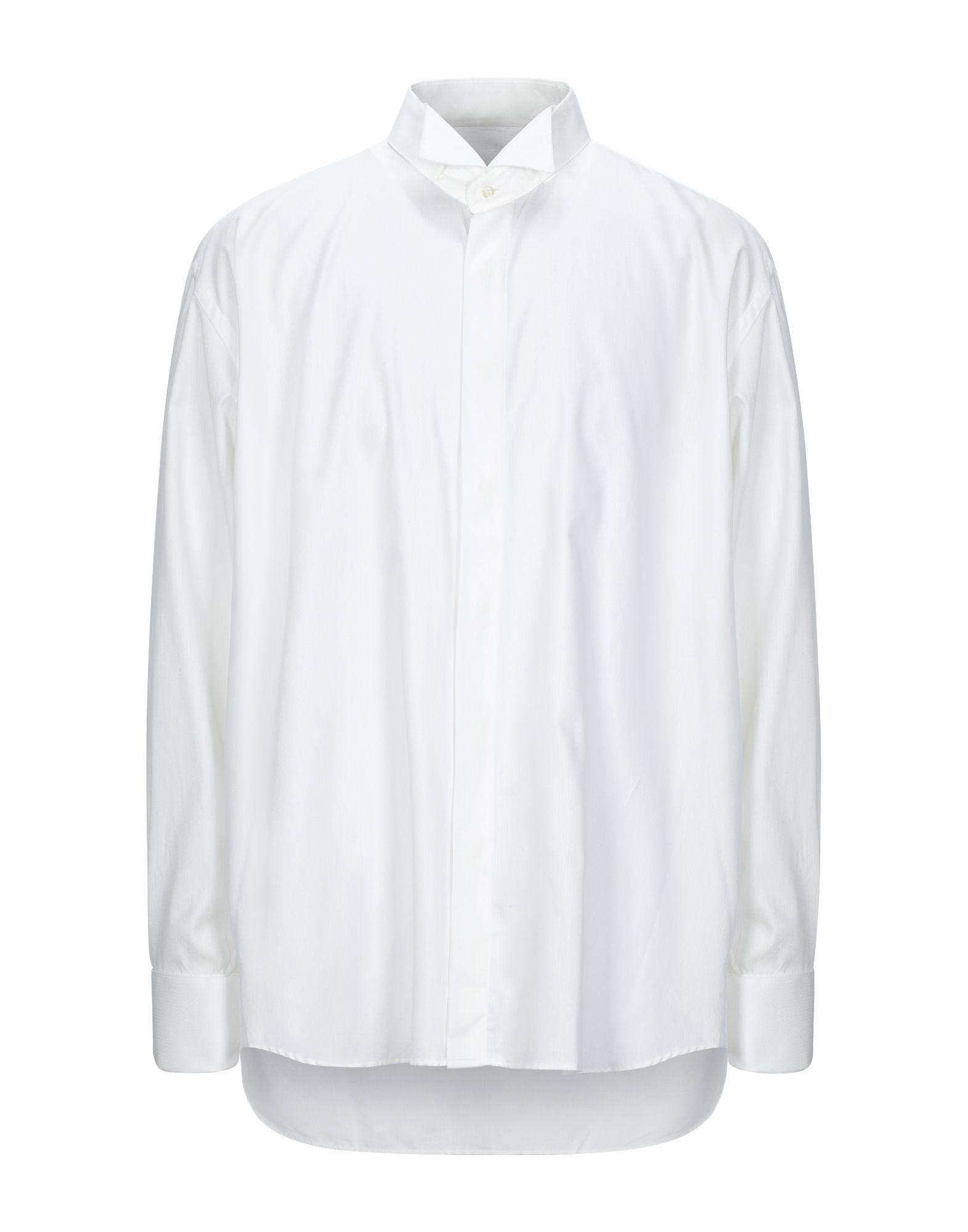 《セール開催中》ROCCOBAROCCO メンズ シャツ ホワイト 46 コットン 100%