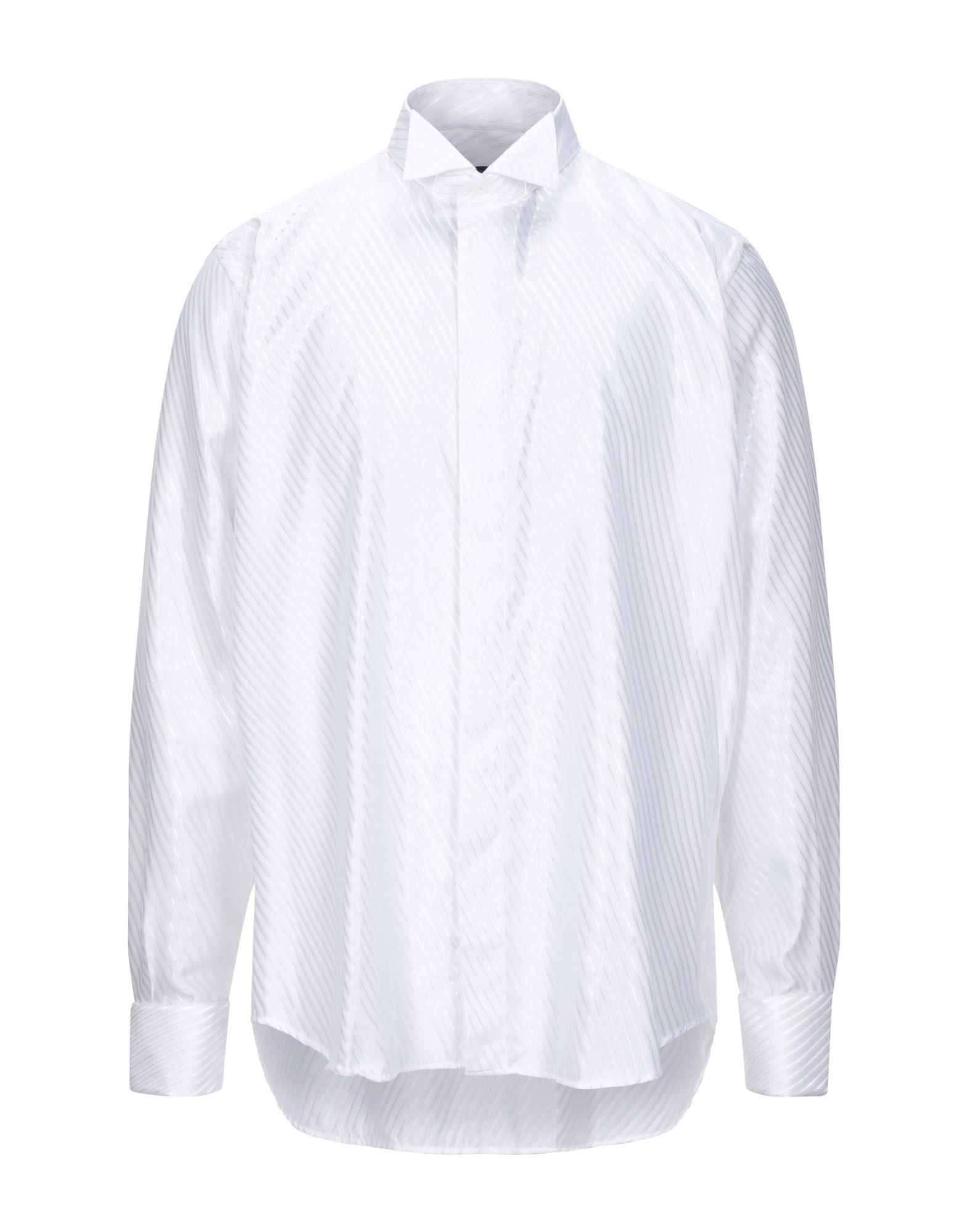 《セール開催中》ROCCOBAROCCO メンズ シャツ ホワイト 44 コットン 60% / レーヨン 40%