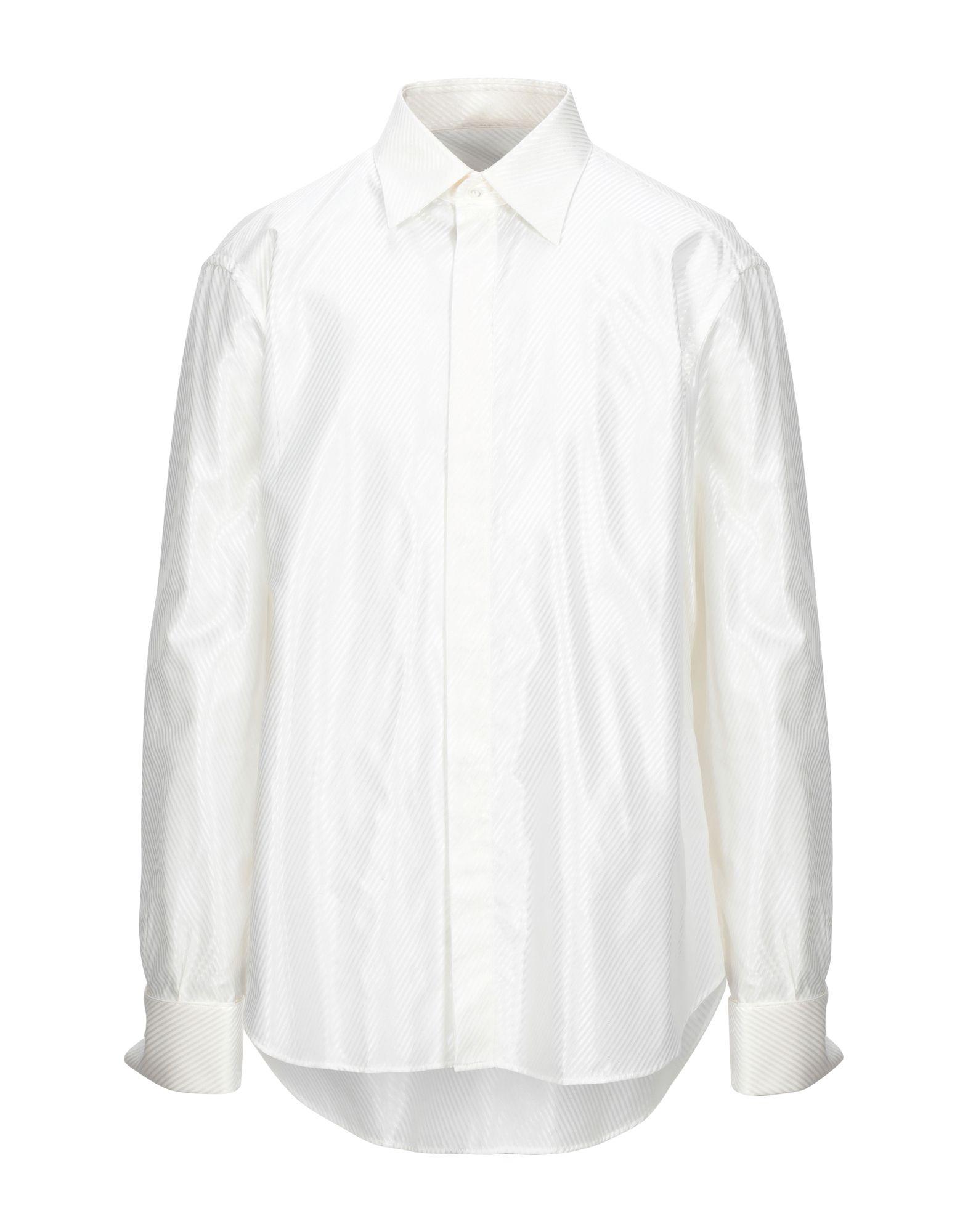 《セール開催中》ROCCOBAROCCO メンズ シャツ アイボリー 46 コットン 60% / レーヨン 40%