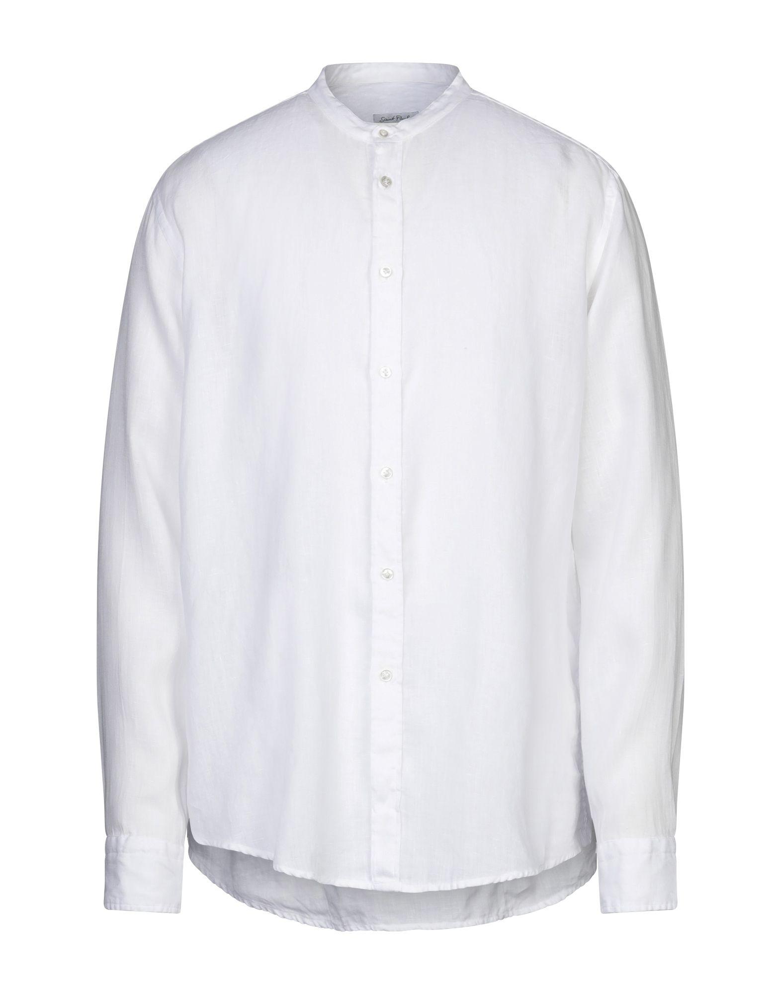 《セール開催中》SAINT PAUL メンズ シャツ ホワイト 39 リネン 100%