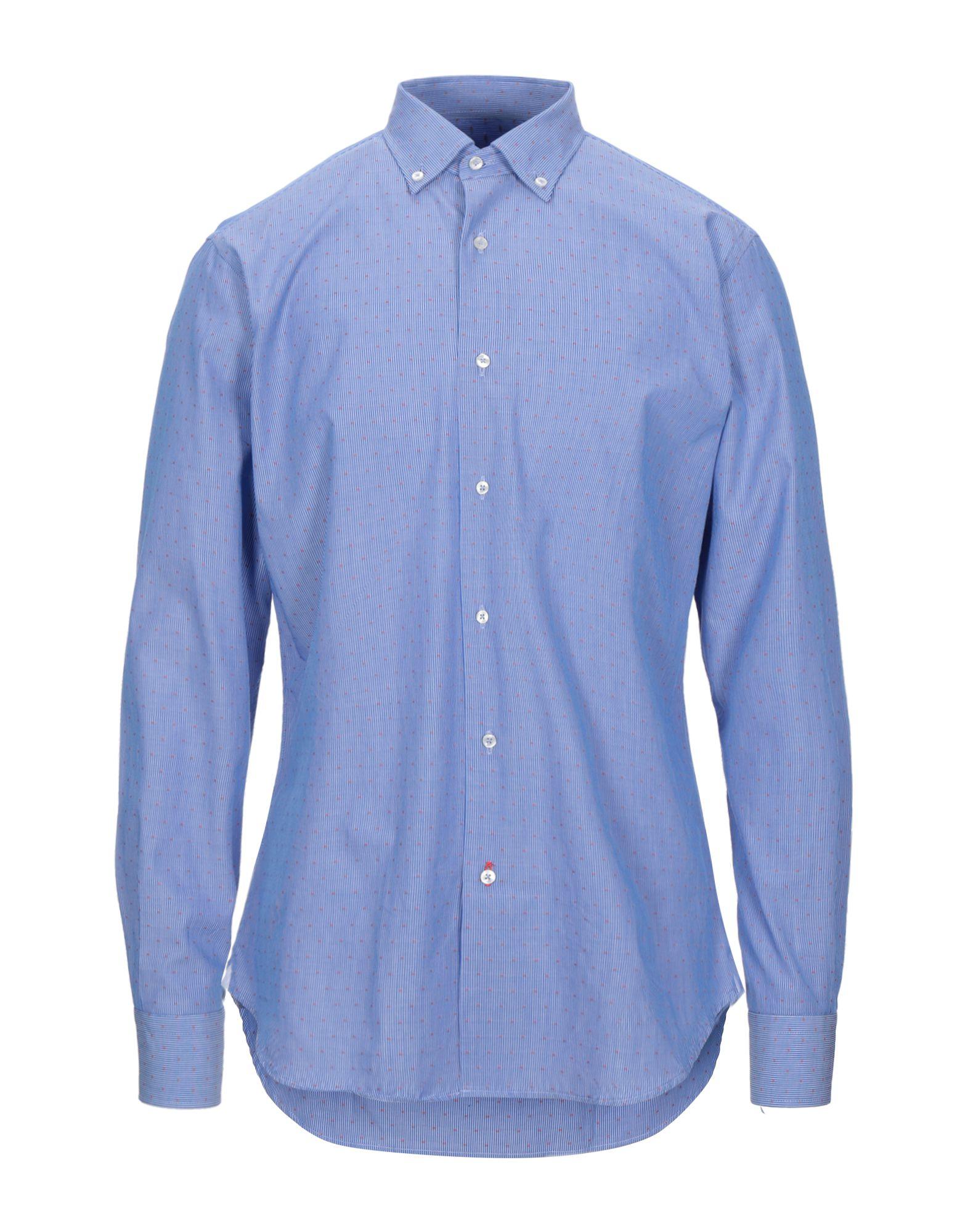 《セール開催中》DE PASQUALE メンズ シャツ ブルー 41 コットン 100%
