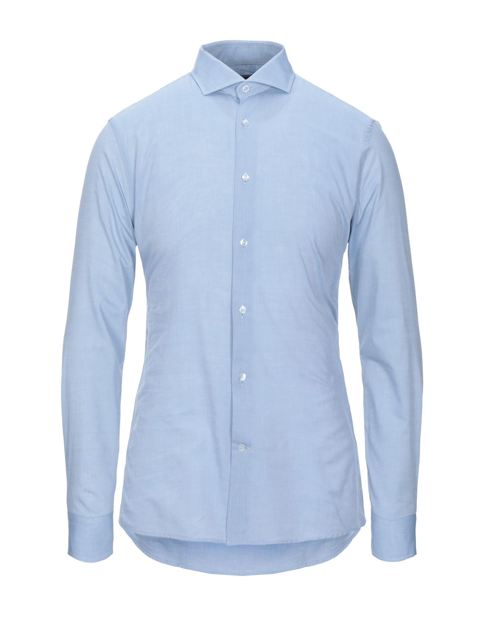 《セール開催中》LAB. PAL ZILERI メンズ シャツ ブルー 42 コットン 100%