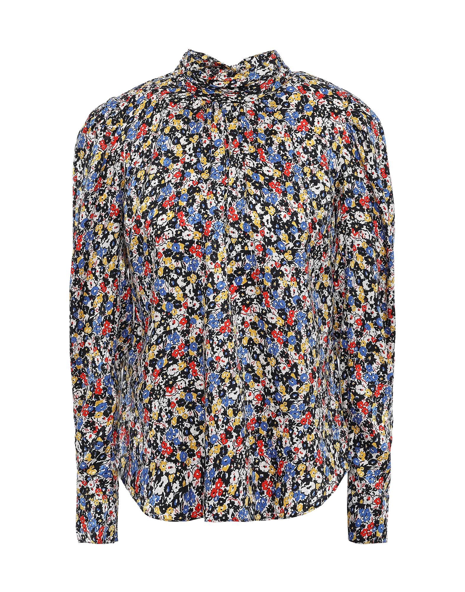 VERONICA BEARD Blouses. crepe, no appliqués, floral design, rear closure, self-tie wrap closure, long sleeves, buttoned cuffs, round collar, no pockets, stretch. 90% Silk, 10% Elastane
