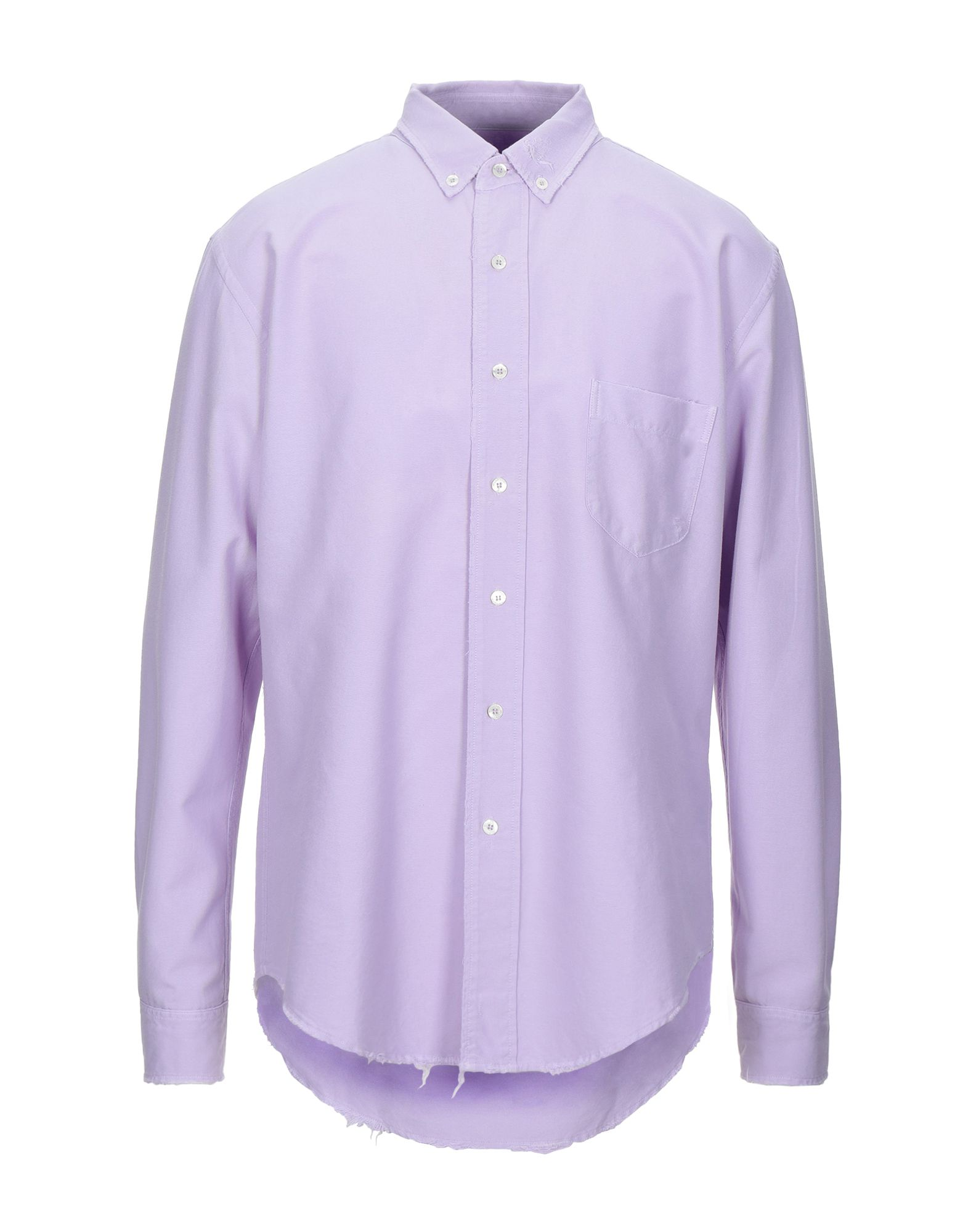 PALM ANGELS Shirts. plain weave, logo, basic solid color, front closure, button closing, long sleeves, buttoned cuffs, button-down collar, single chest pocket. 100% Cotton