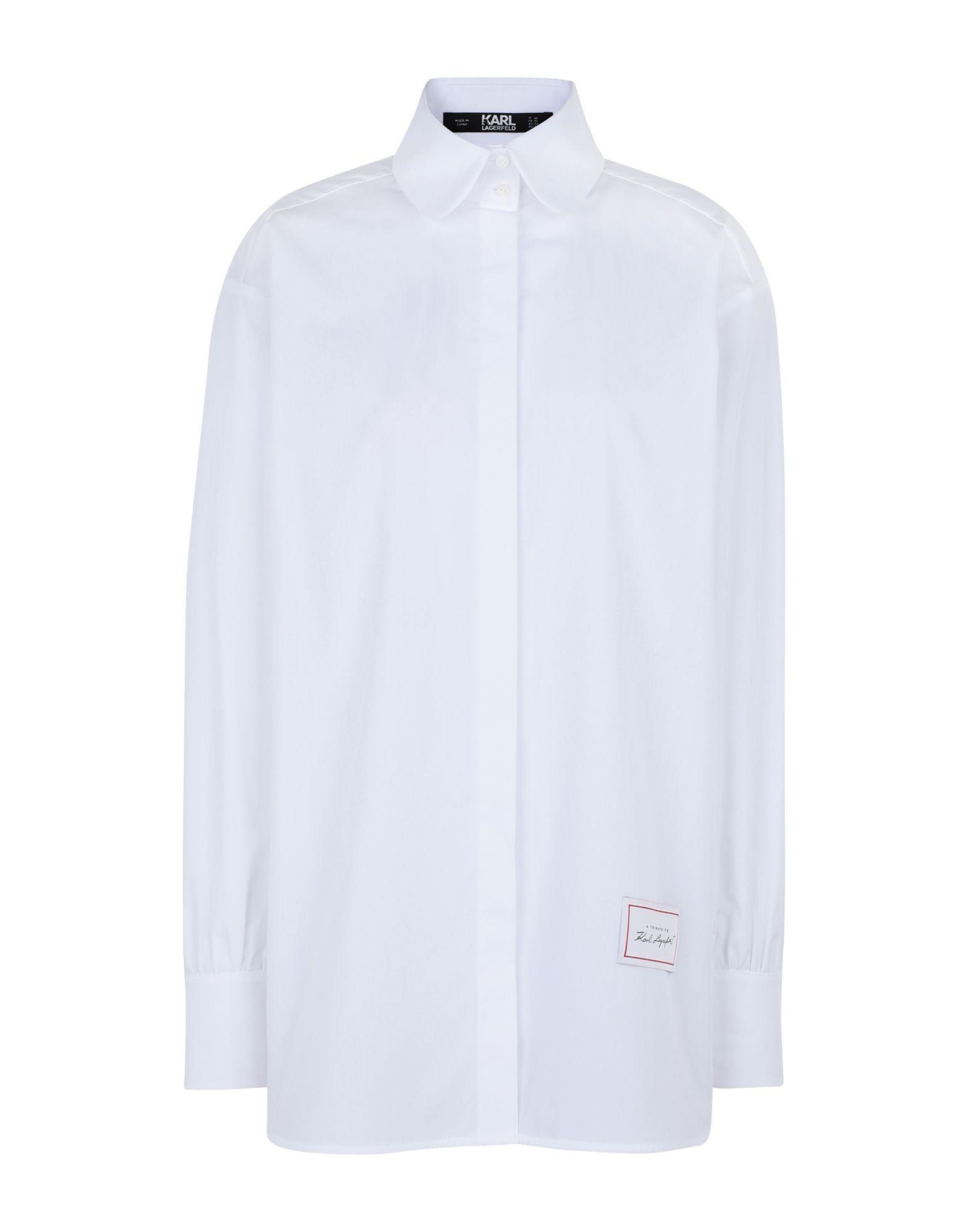 《セール開催中》KARL LAGERFELD レディース シャツ ホワイト 38 コットン 100% Classic Karl Poplin Shirt