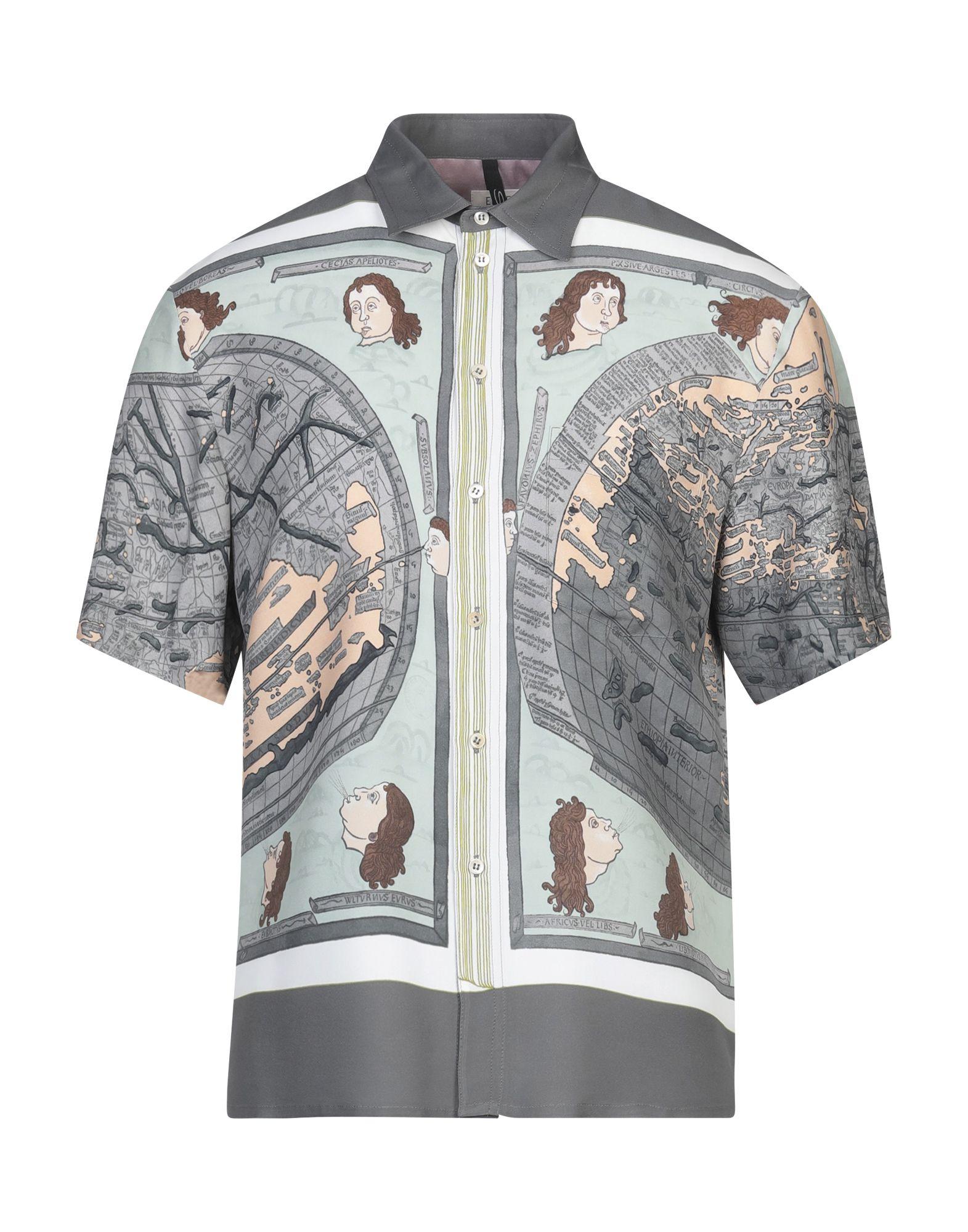 SANTONI Shirts. crepe, no appliqués, multicolor pattern, front closure, button closing, short sleeves, classic neckline, single chest pocket. 100% Viscose