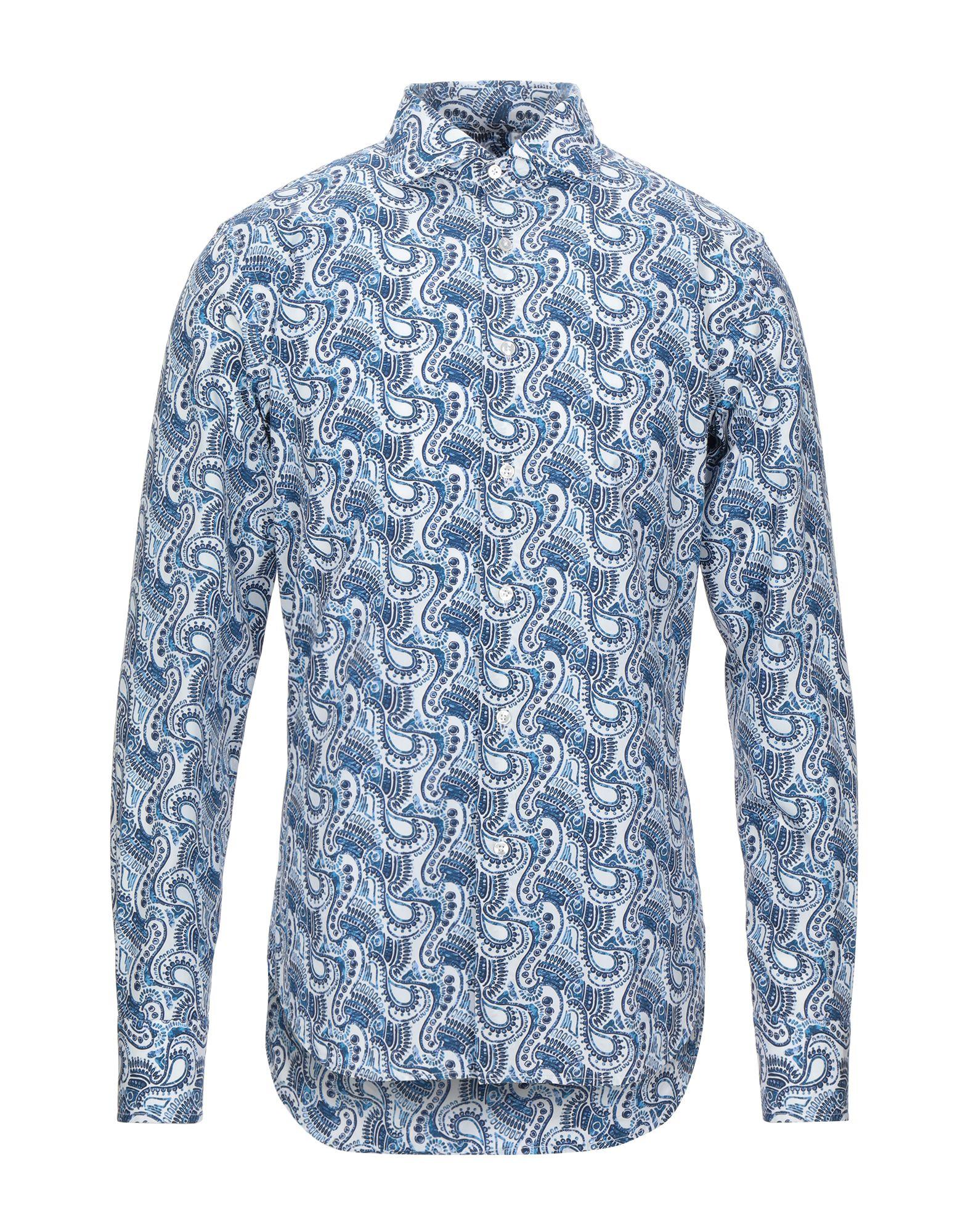 《セール開催中》ENZO FELDINI メンズ シャツ ダークブルー 40 コットン 100%