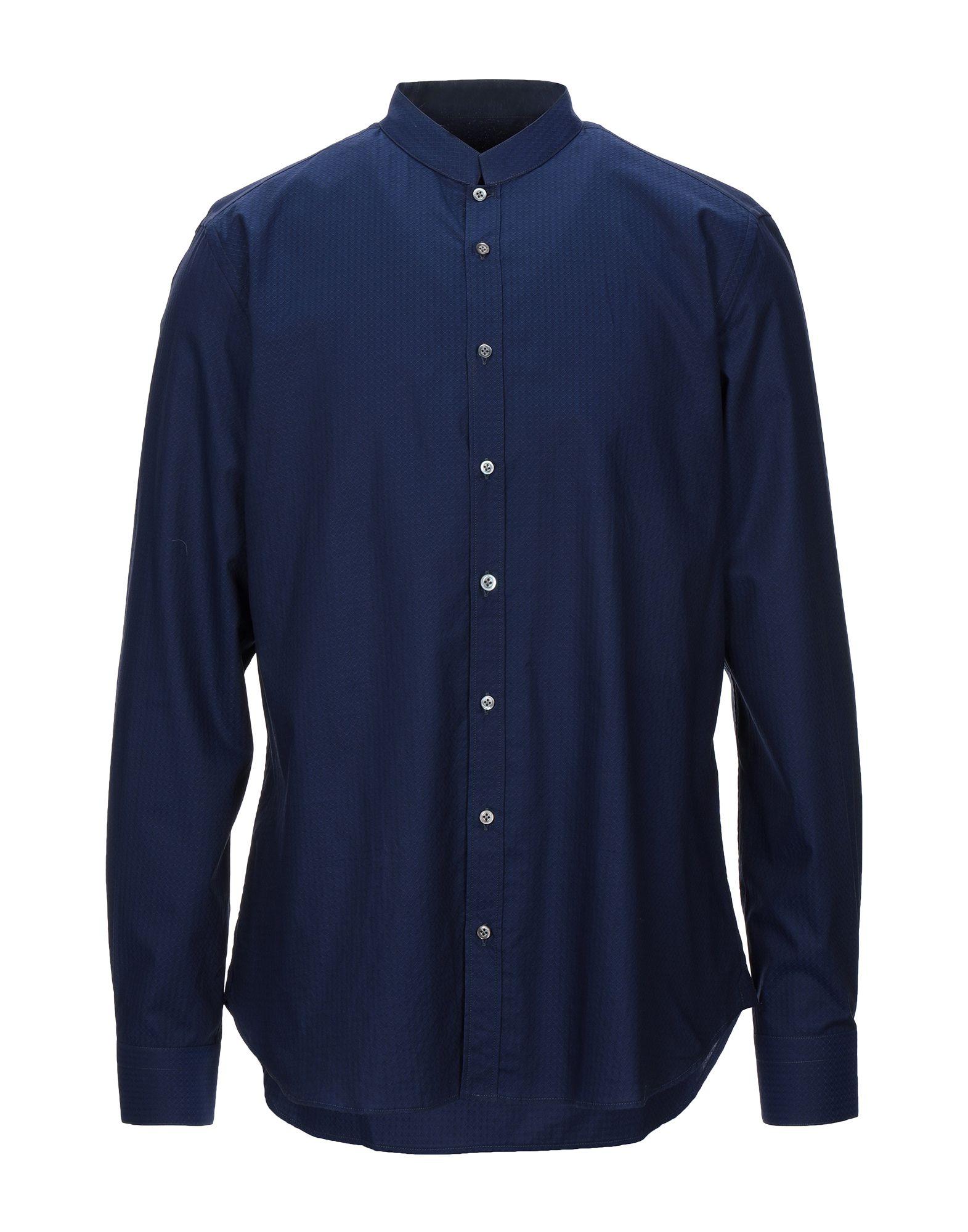 《セール開催中》BORSA メンズ シャツ ダークブルー 42 コットン 100%
