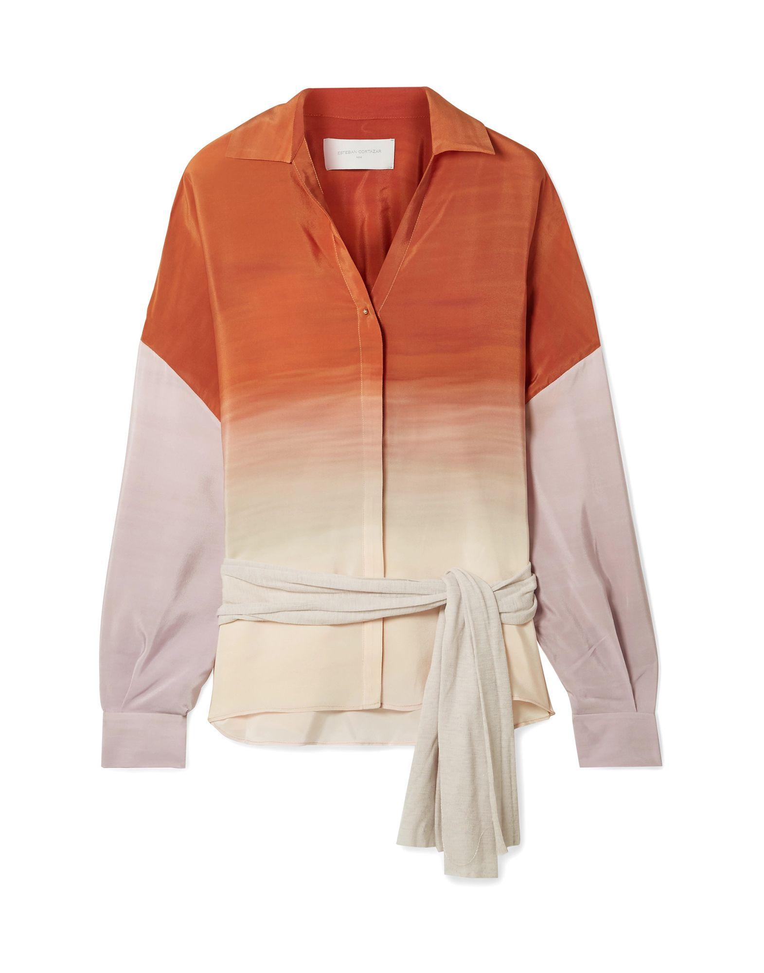 《セール開催中》ESTEBAN CORTAZAR レディース シャツ オレンジ 40 シルク 100% / ウール / ナイロン
