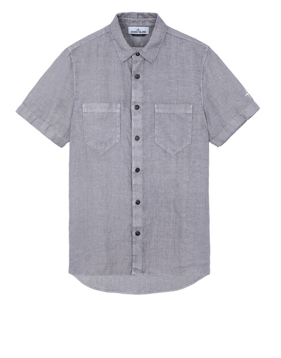 "STONE ISLAND 12601""FISSATO""DYE TREATMENT Short sleeve shirt Man Blue Grey"