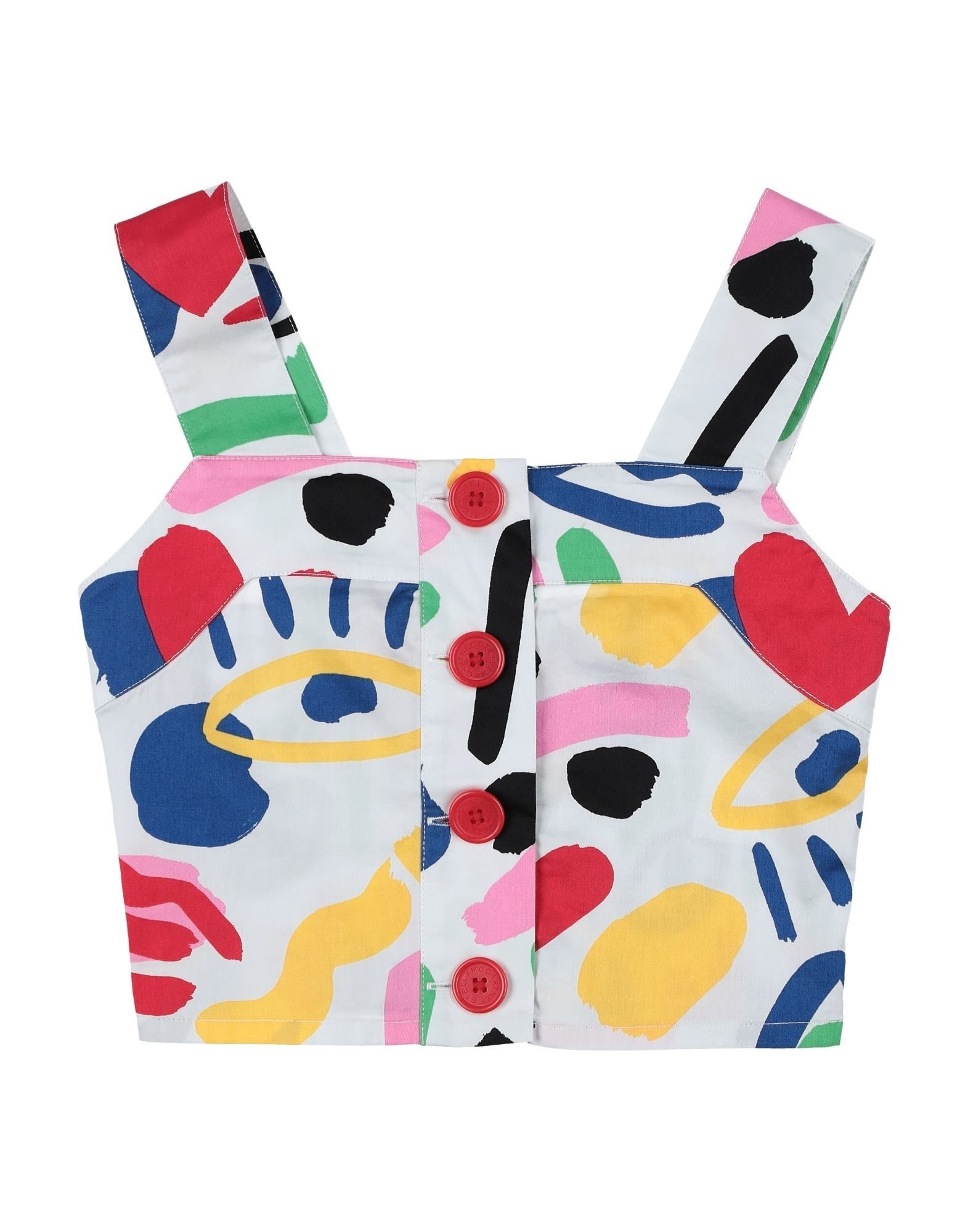 STELLA McCARTNEY KIDS Shirts. plain weave, no appliqués, multicolor pattern, front closure, button closing, sleeveless, square neckline, no pockets, wash at 30degree c, do not dry clean, iron at 110degree c max, do not bleach, do not tumble dry. 100% Cotton