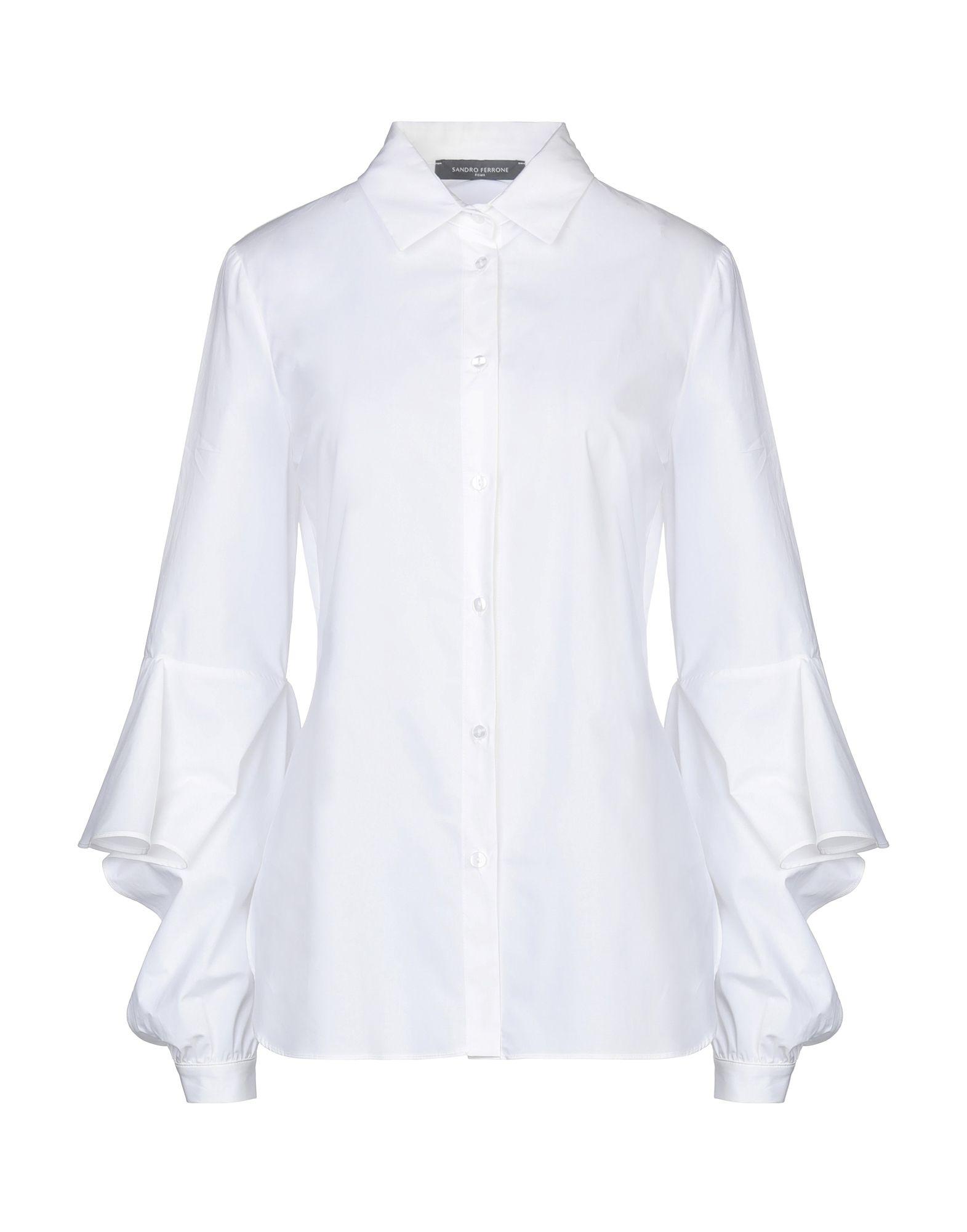 《セール開催中》SANDRO FERRONE レディース シャツ ホワイト 42 コットン 100%