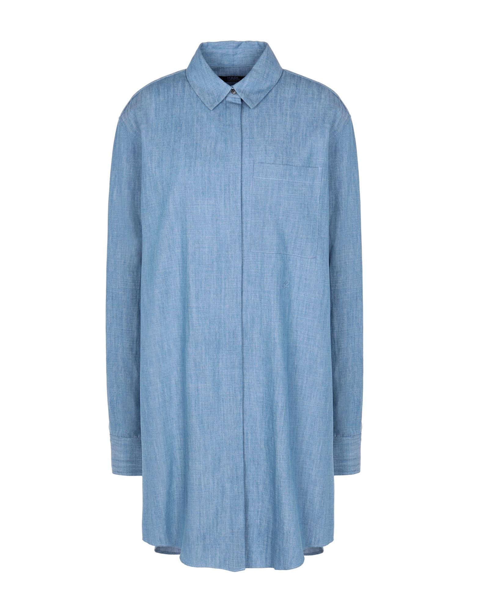 《セール開催中》KARL LAGERFELD レディース シャツ パステルブルー 38 コットン 100% EMBELLISHED COTTON SHIRT