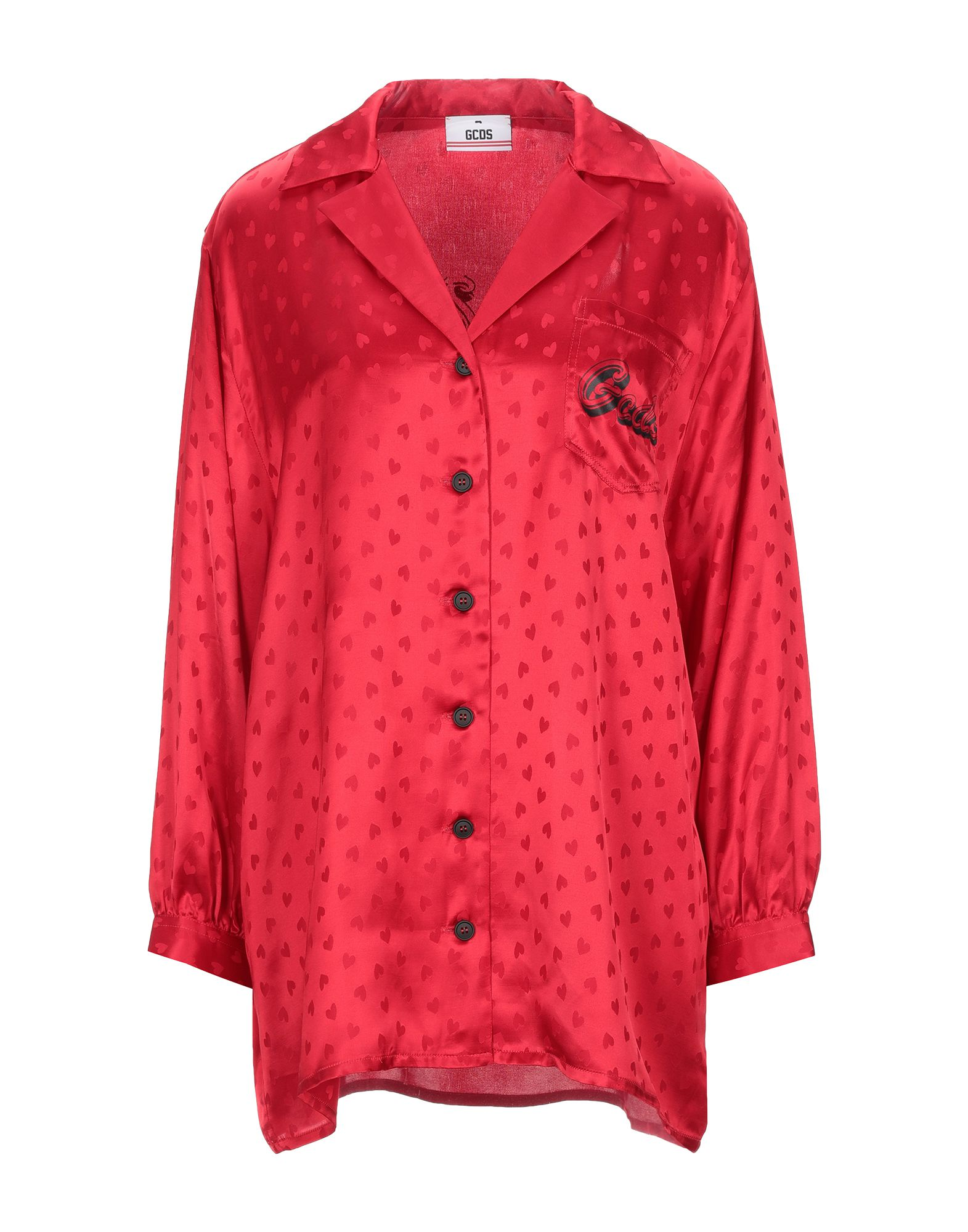 GCDS Shirts. jacquard, satin, logo, print, solid color, front closure, button closing, 3/4 length sleeves, buttoned cuffs, lapel collar, single chest pocket. 100% Viscose