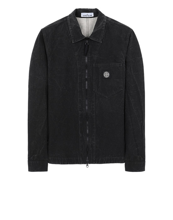 STONE ISLAND 106J1 PANAMA PLACCATO OVER SHIRT Man Black
