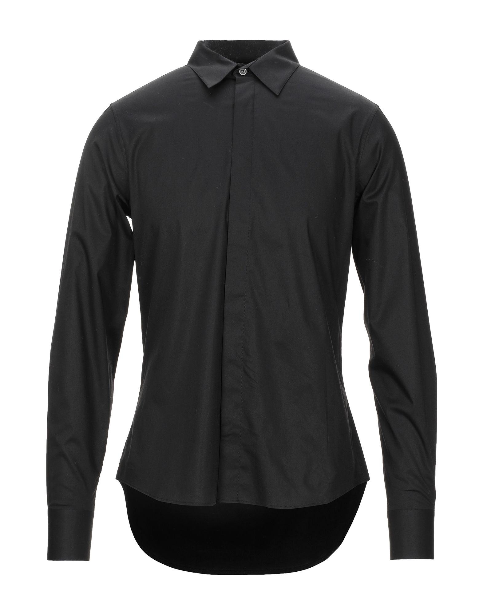 ALEXANDER MCQUEEN Shirts. poplin, folds, basic solid color, front closure, button closing, long sleeves, buttoned cuffs, classic neckline, no pockets, stretch, large sized. 96% Cotton, 4% Elastane