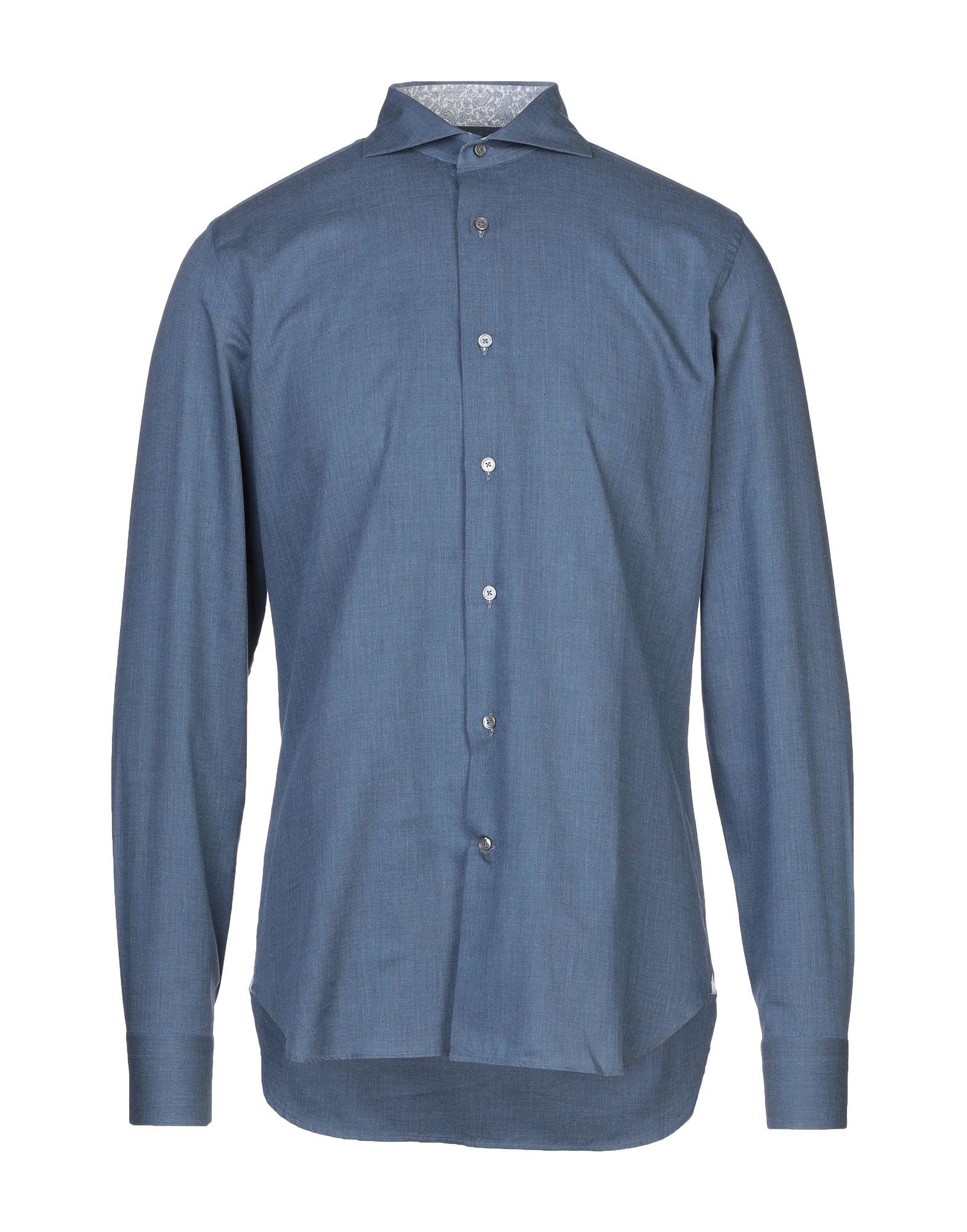 《セール開催中》LABORATORIO DEL CARMINE メンズ シャツ ブルーグレー 40 コットン 100%