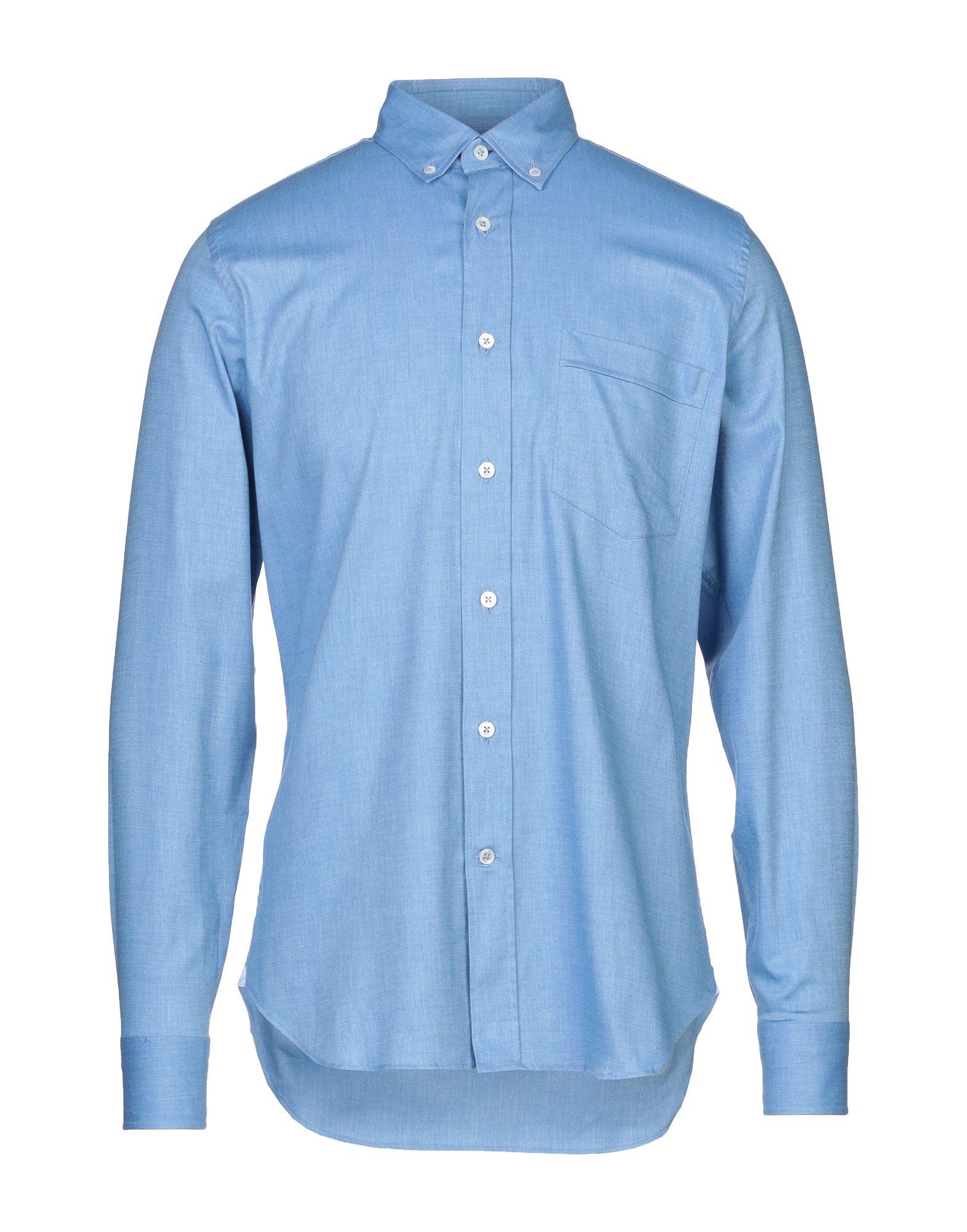《セール開催中》LABORATORIO DEL CARMINE メンズ シャツ アジュールブルー 39 コットン 98% / ポリウレタン 2%