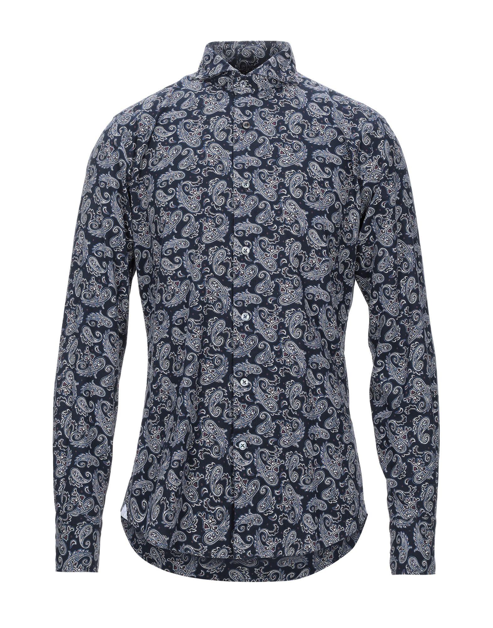 《セール開催中》LABORATORIO DEL CARMINE メンズ シャツ ダークブルー 42 コットン 100%