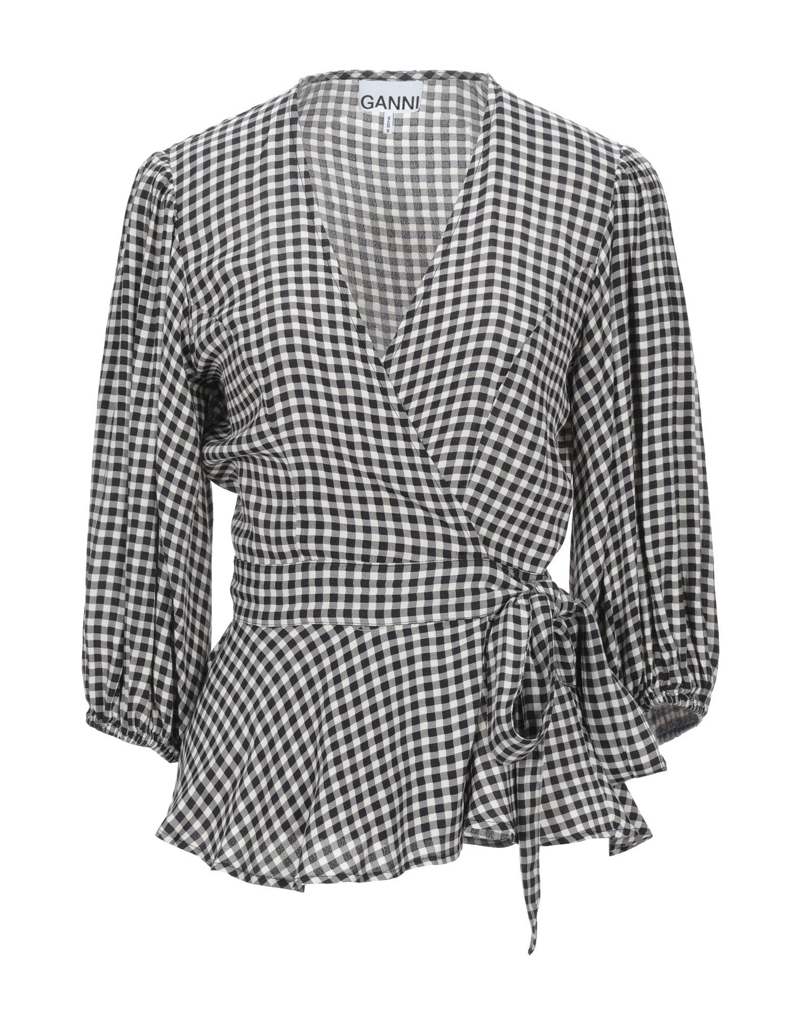 GANNI Shirts. crepe, no appliqués, checked, self-tie wrap closure, long sleeves, deep neckline, no pockets. 100% Viscose