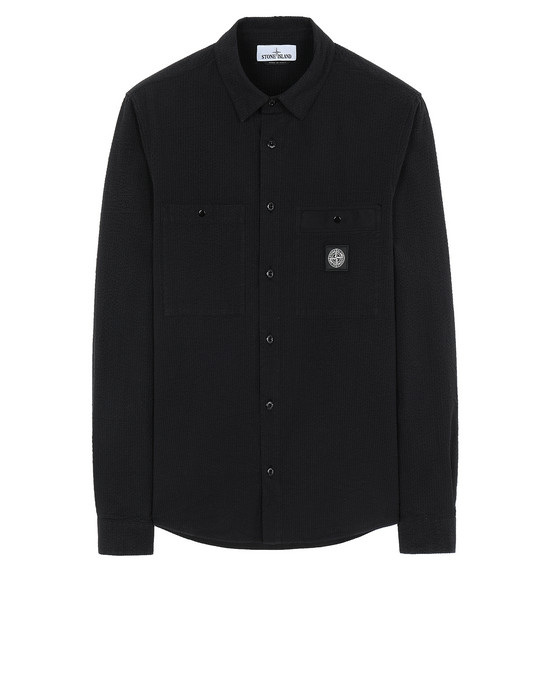 STONE ISLAND 11637 SEERSUCKER CO-TC Long sleeve shirt Man Black