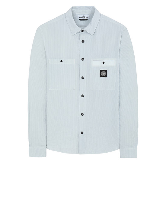 STONE ISLAND 11637 SEERSUCKER CO-TC Long sleeve shirt Man Baby Blue