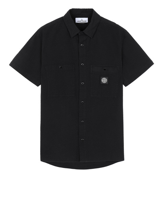 STONE ISLAND 12837 SEERSUCKER CO-TC Short sleeve shirt Man Black