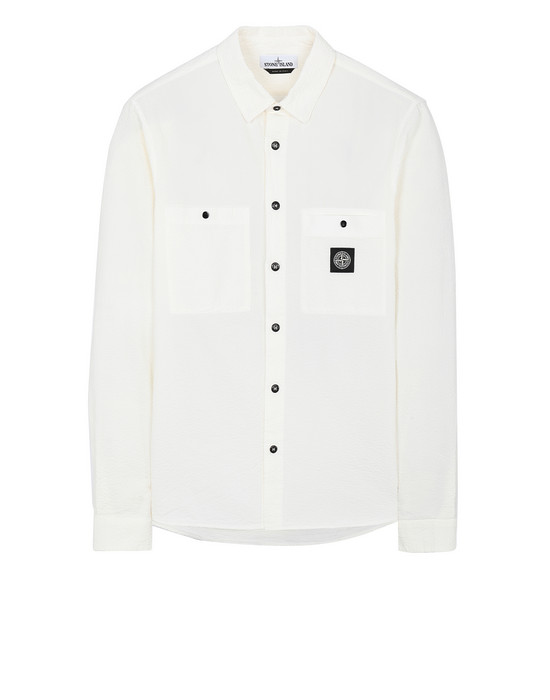 STONE ISLAND 11637 SEERSUCKER CO-TC Long sleeve shirt Man Ivory