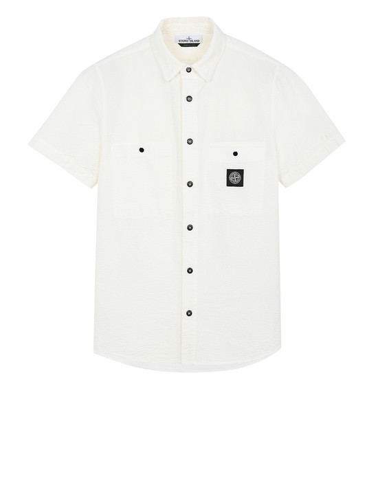 STONE ISLAND 12837 SEERSUCKER CO-TC Short sleeve shirt Man Ivory