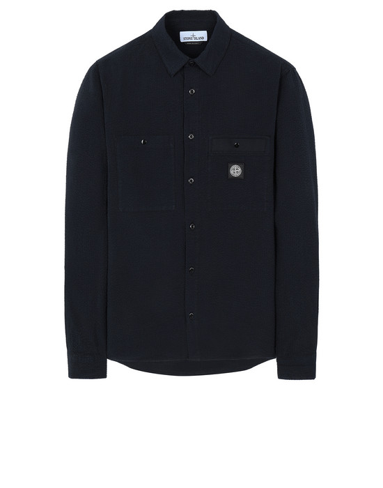 STONE ISLAND 11637 SEERSUCKER CO-TC Long sleeve shirt Man Blue