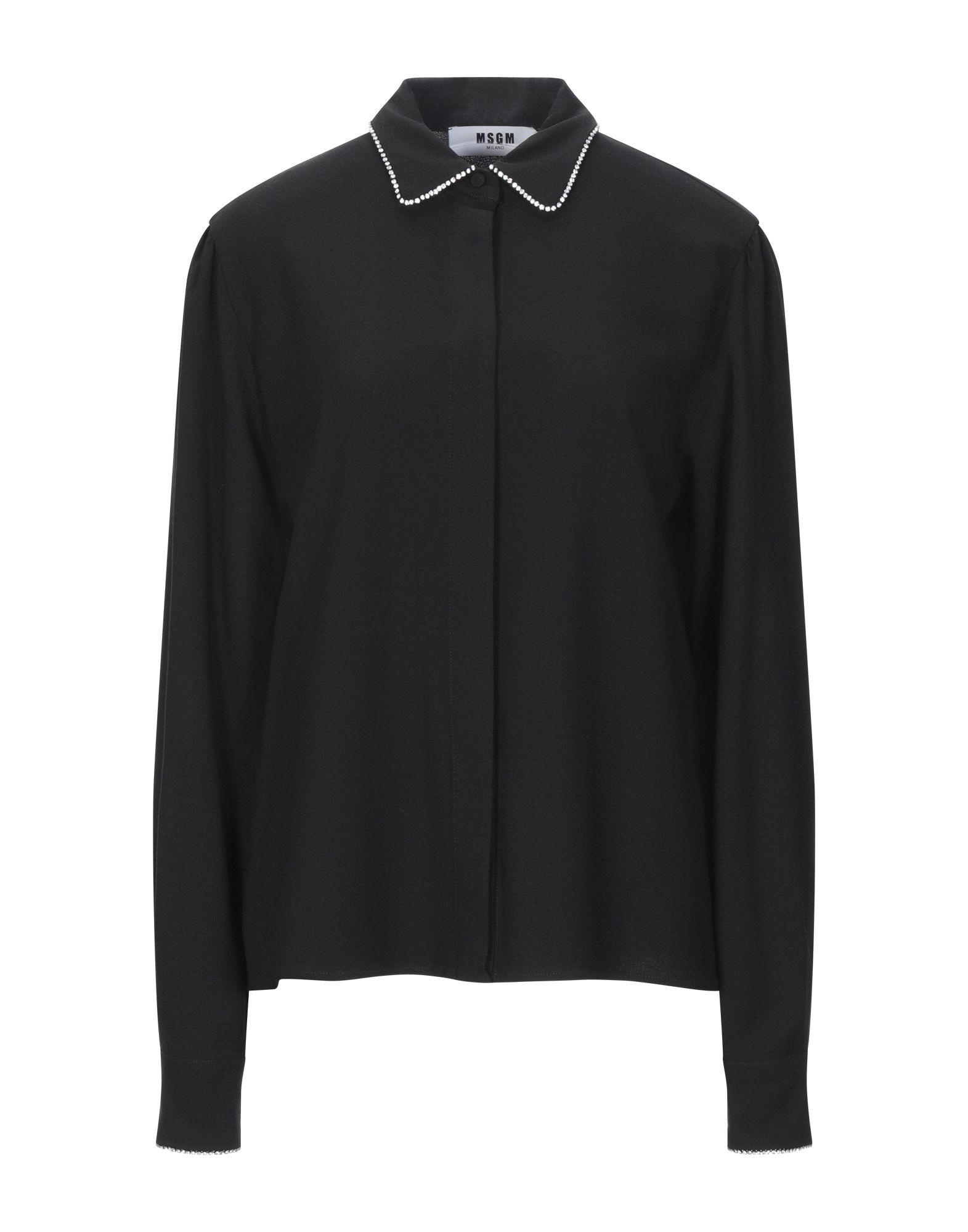 《セール開催中》MSGM レディース シャツ ブラック 40 レーヨン 98% / ポリウレタン 2% / ガラス / 金属 / ポリエステル