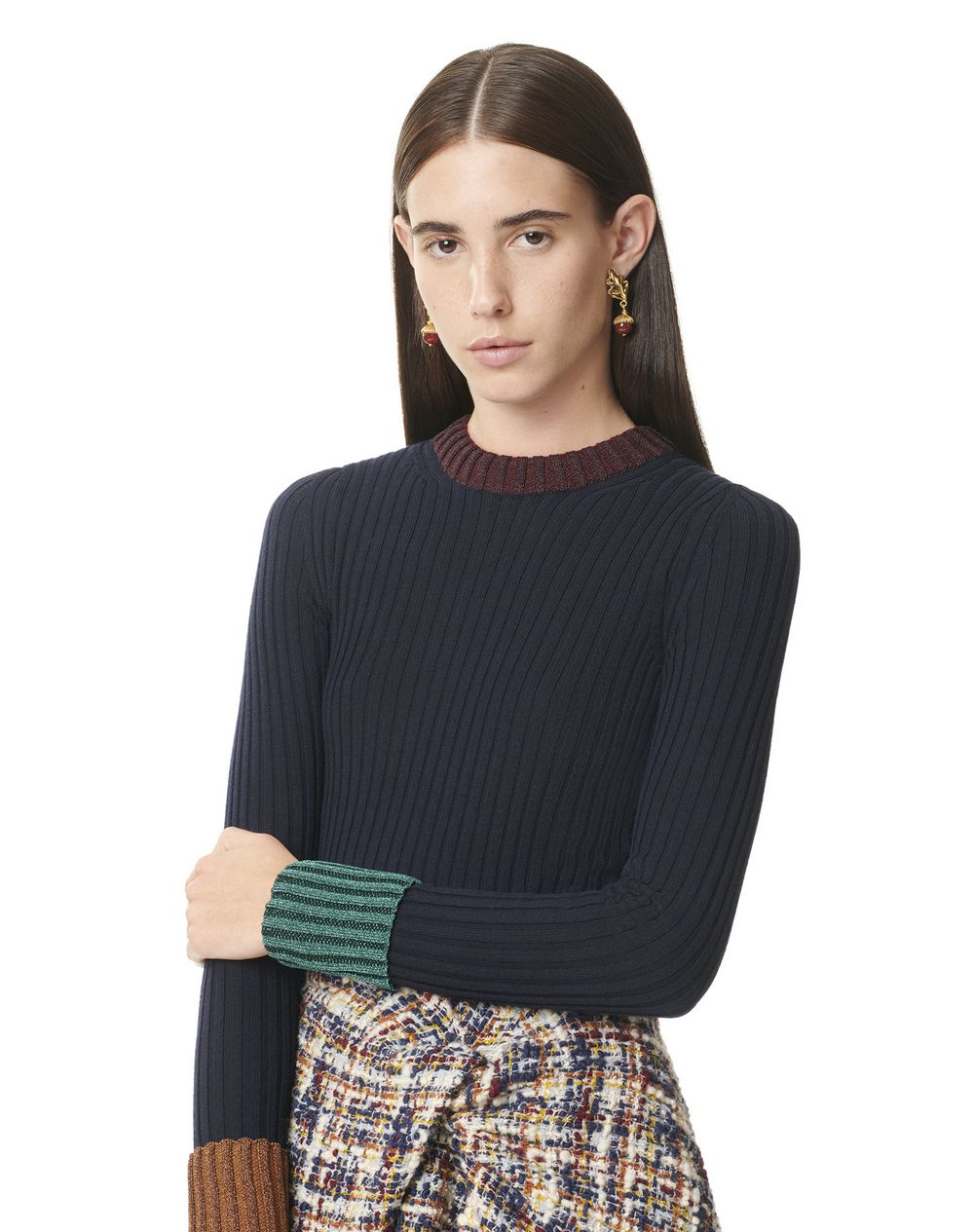 ROUND NECK FITTED SWEATER WITH CONTRASTING CUFFS AND COLLAR - Lanvin