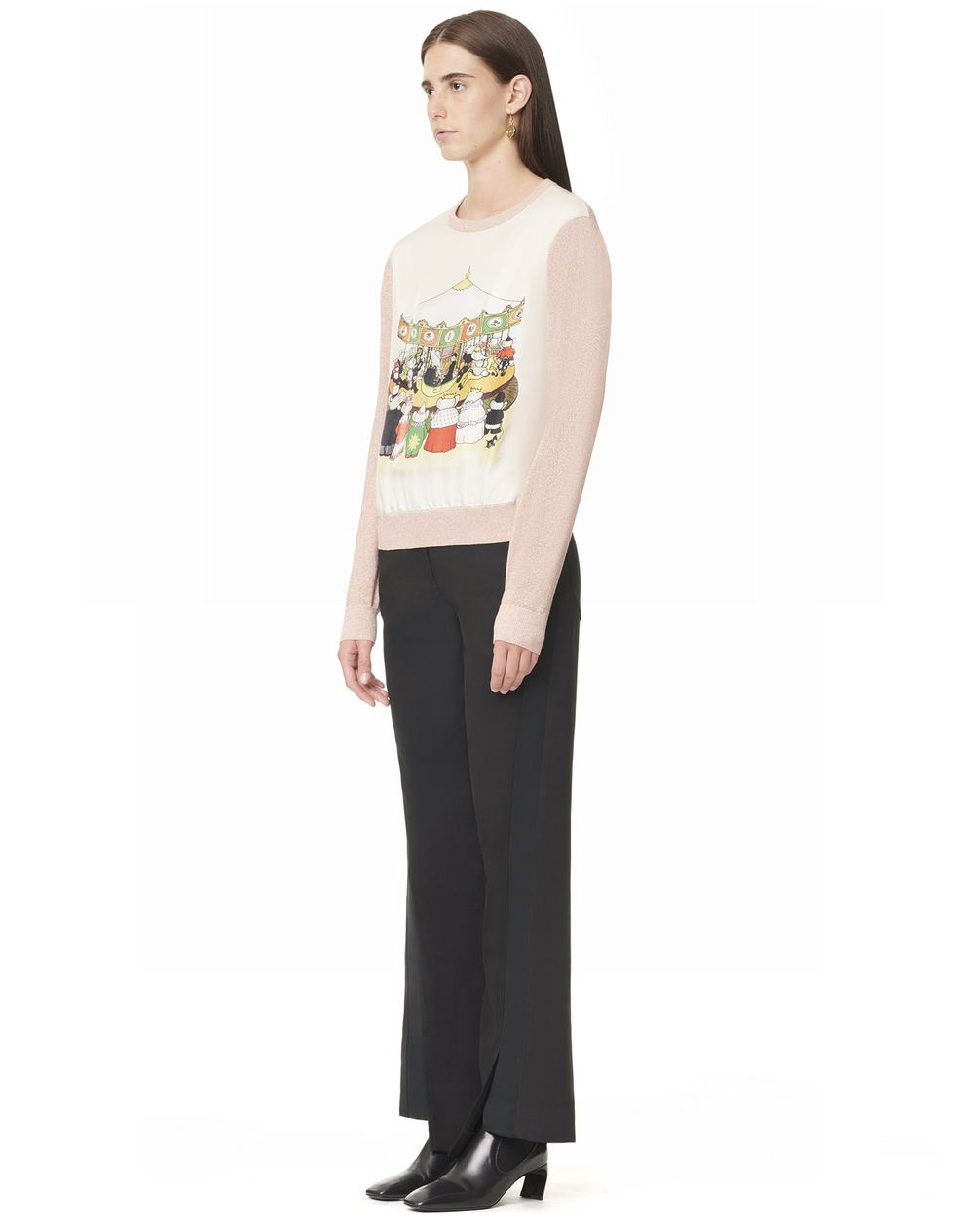 ROUND NECK SWEATER WITH CONTRASTING FRONT PRINTED SILK PANEL - Lanvin