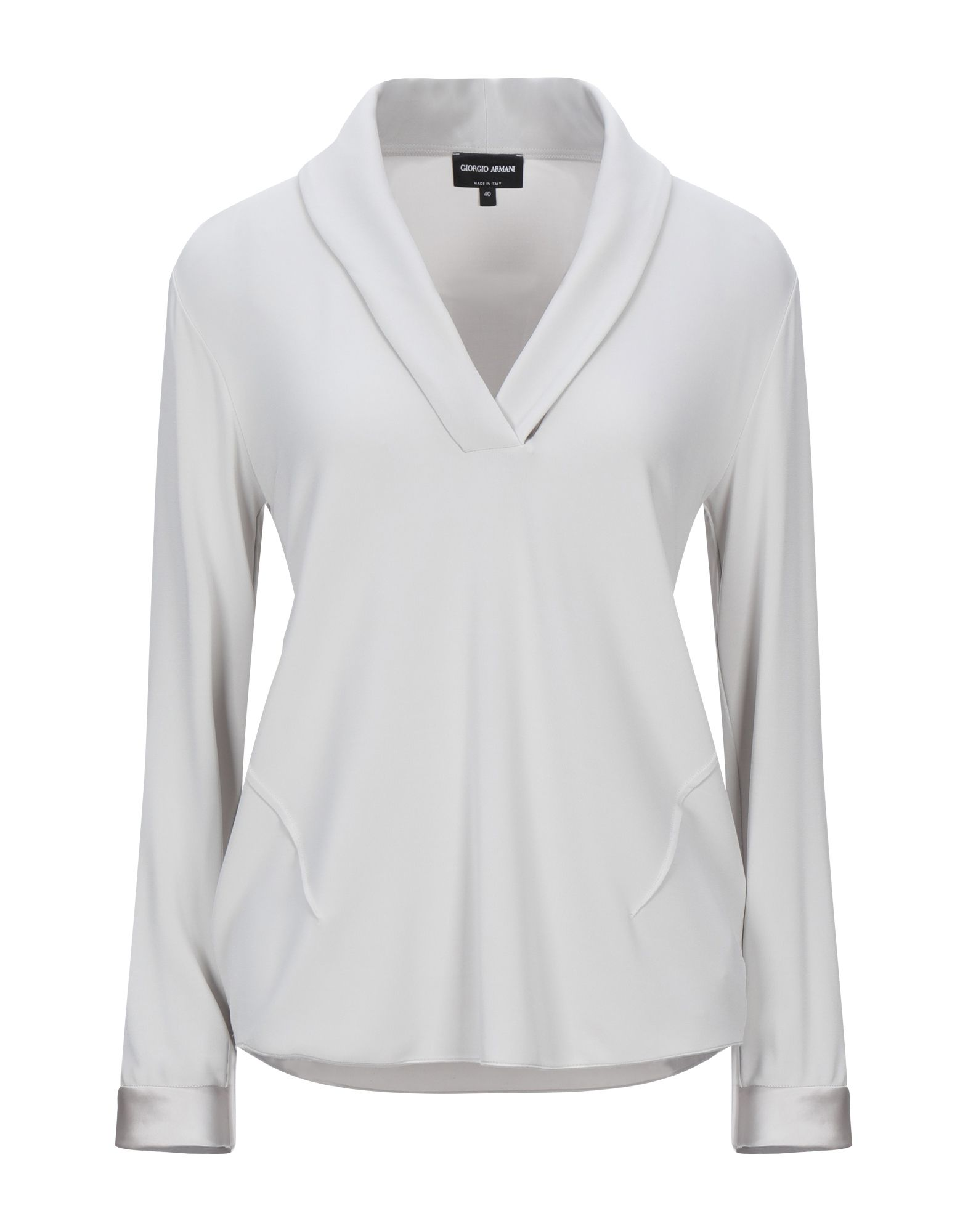 GIORGIO ARMANI T-shirts. jersey, no appliqués, basic solid color, v-neck, long sleeves, stretch, small sized. 95% Viscose, 5% Elastane