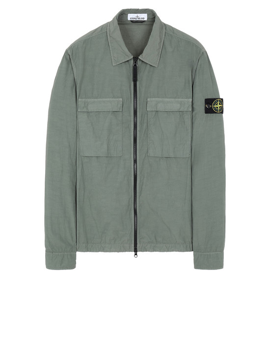 STONE ISLAND 11102 NASLAN LIGHT OVER SHIRT Man Olive Green