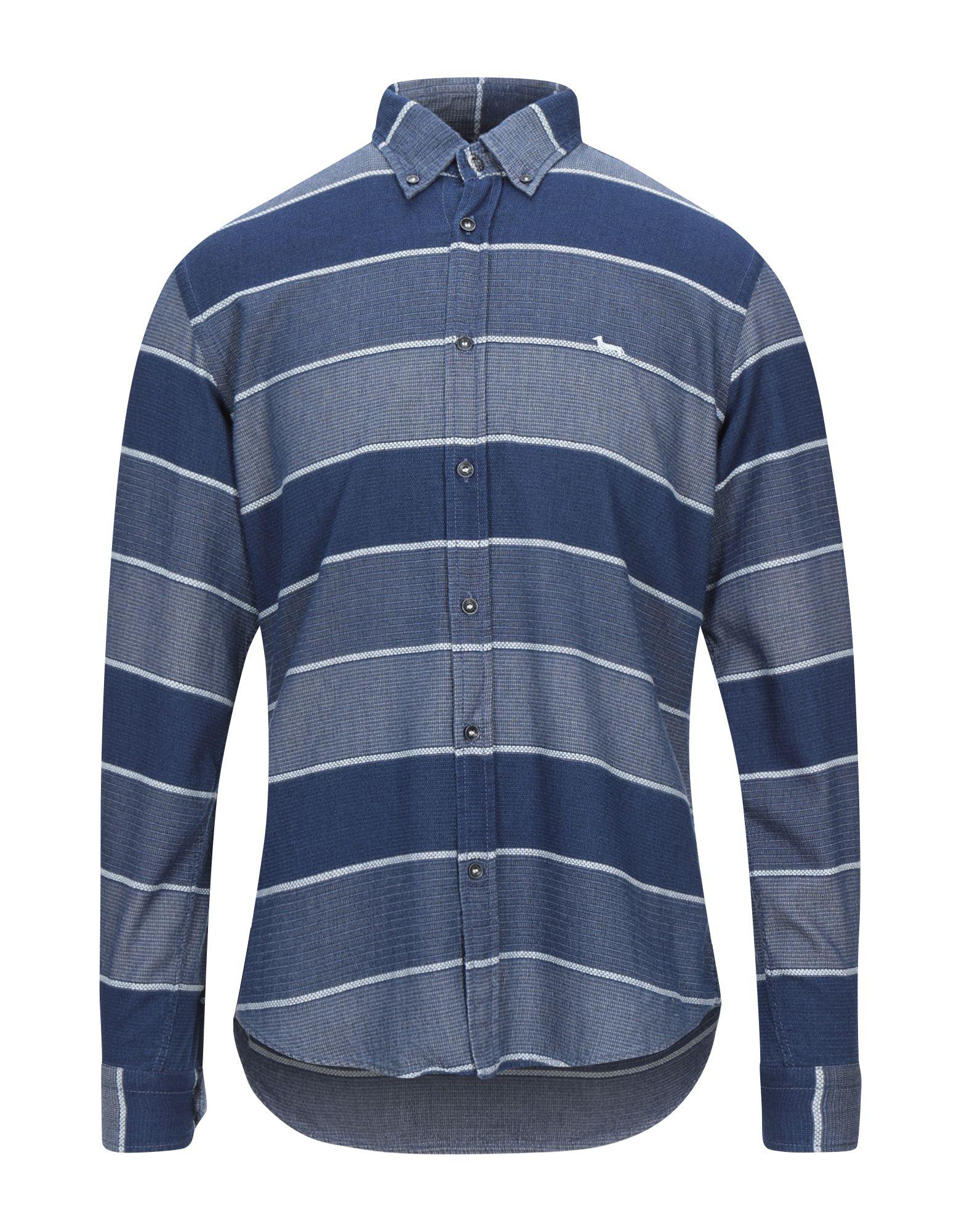 《セール開催中》HARMONT & BLAINE メンズ シャツ ダークブルー L コットン 98% / PES - ポリエーテルサルフォン 2%