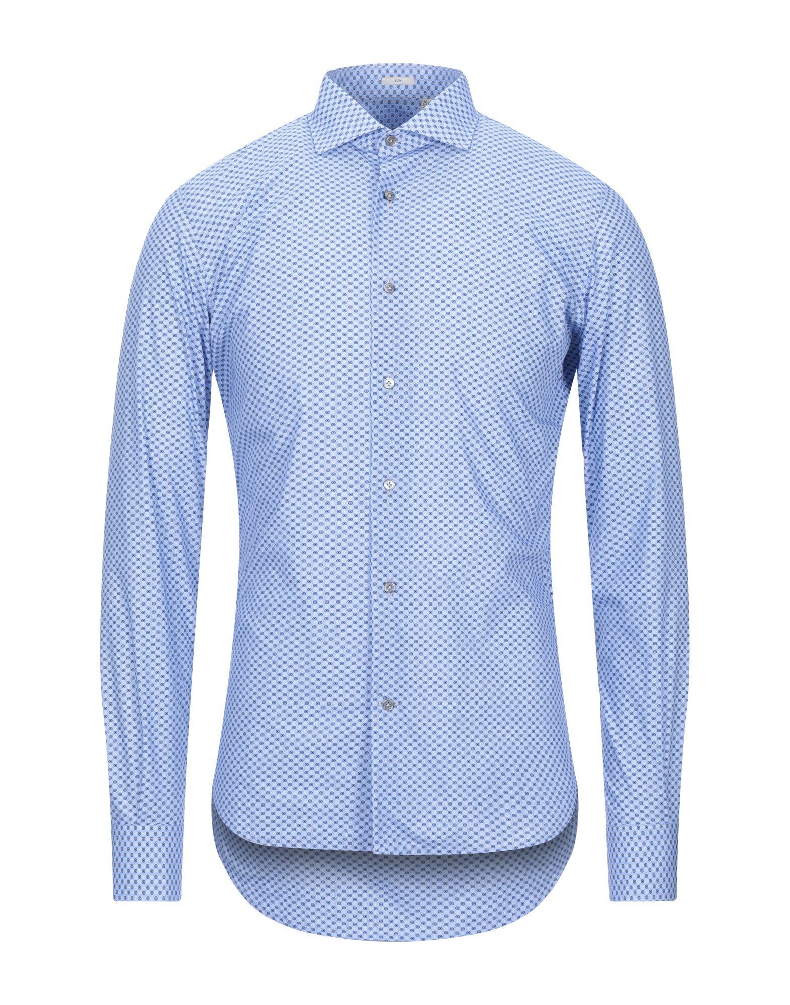 《セール開催中》OGNUNOLASUA by CAMICETTASNOB メンズ シャツ アジュールブルー 39 コットン 100%