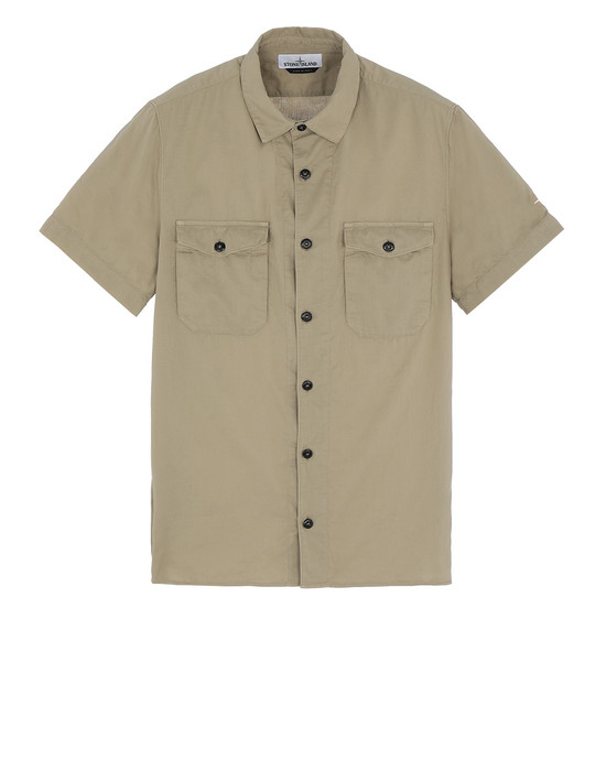 STONE ISLAND 12715 Short sleeve shirt Man Dark Beige